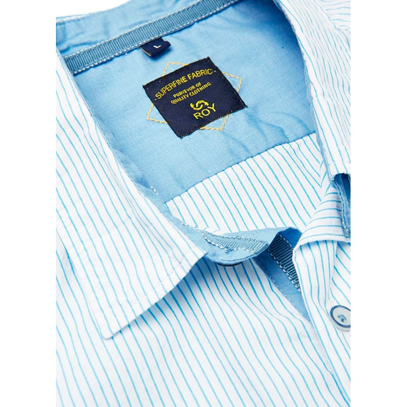 Koszula Roy KS300 barre krótki rękaw biała w niebieskie paski