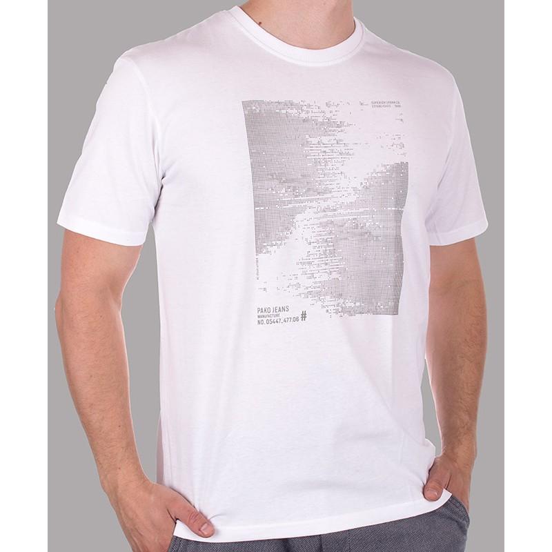 Biały t-shirt PakoJeans TS8 dots1 Slate M L XL 2XL 3XL
