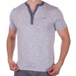 Szary t-shirt krótki rękaw PakoJeans TS Soul z guzikiem M L XL 2XL 3XL