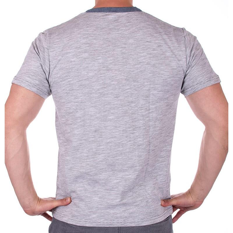 Szara koszulka z guzikiem PakoJeans TS Soul