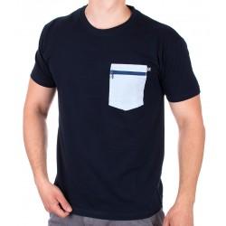 Granatowy bawełniany T-shirt z kieszenią Kings 750-101Z r. M L XL 2XL