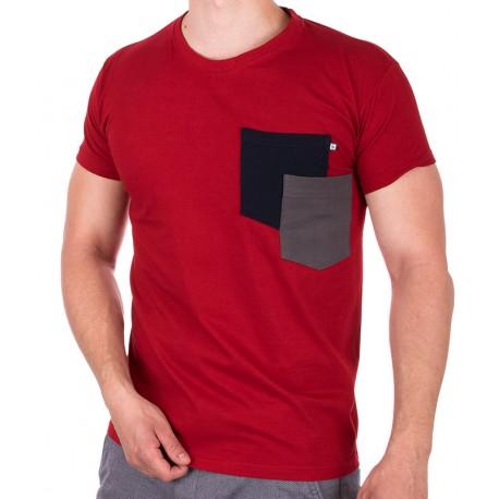 Czerwony bawełniany T-shirt z kieszenią Kings 750-101KK