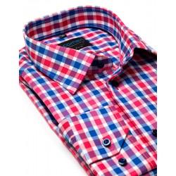 Koszula Comen z długim rękawem czerwona kratka slim 39 40 41 42 43 44