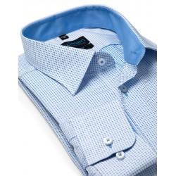 Niebieska koszula długi rękaw w krateczkę Comen slim 39 40 41 42 43 44