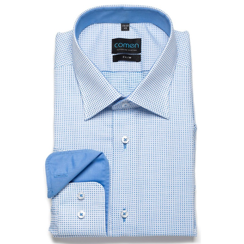 Niebieska koszula w kratkę Comen slim dł. rękaw