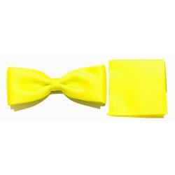 Żółta muszka męska Wiliński z poszetką