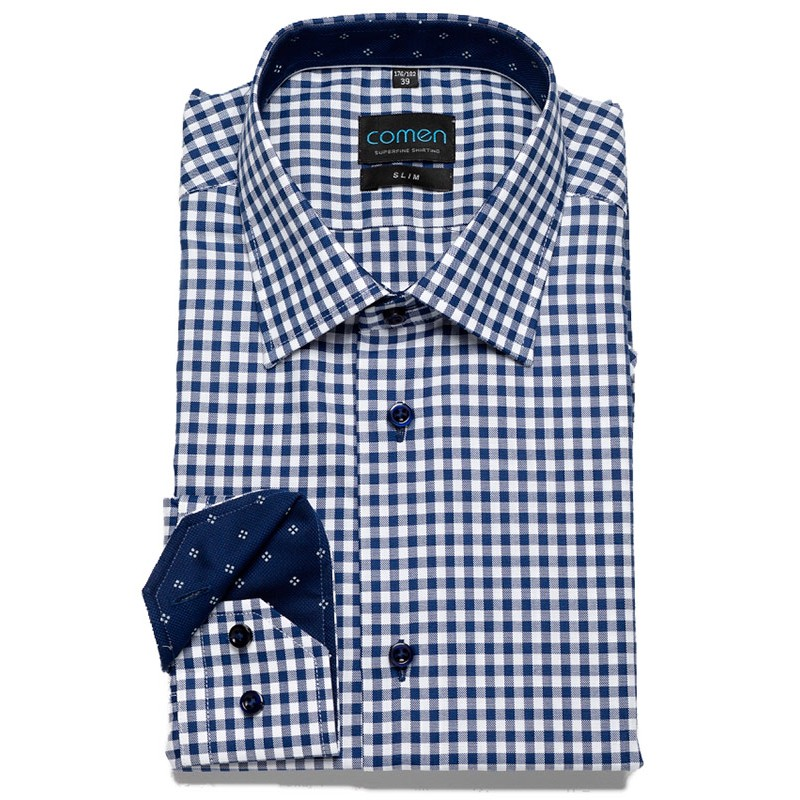 Granatowa koszula w kratkę Comen SLIM
