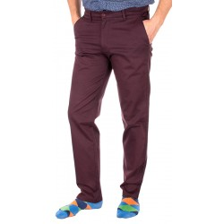 Bordowe spodnie chinos Lord R-72 zwężane bawełniane roz. 84-110