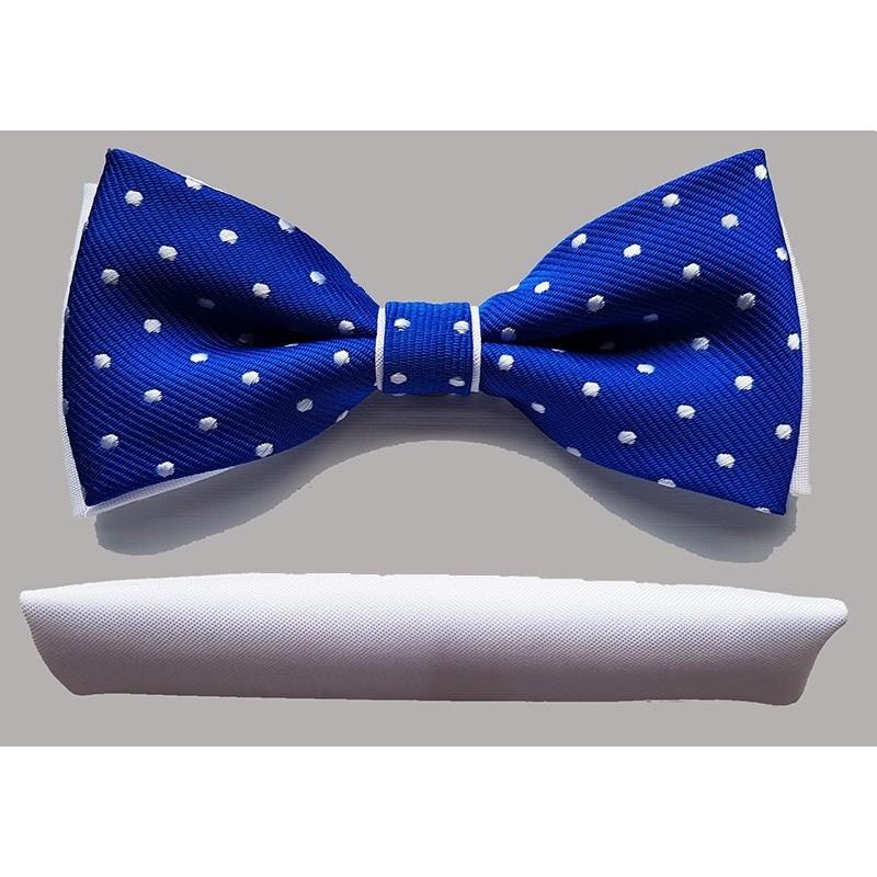 Niebieska muszka w białe kropki Vernon z wypustką