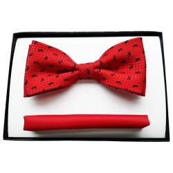 Czerwona muszka męska z poszetką w zestawie - czarny wzór paisley
