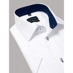 Biała koszula krótki rękaw Comen slim, kieszeń 39 40 41 42 43 44 45 46