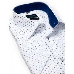 Koszula krótki rękaw Comen biała ze wzorem slim 39 40 41 42 43 44 45