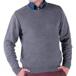 Szary sweter męski Lasota Filip pod szyję z aplikacją M L XL 2XL 3XL