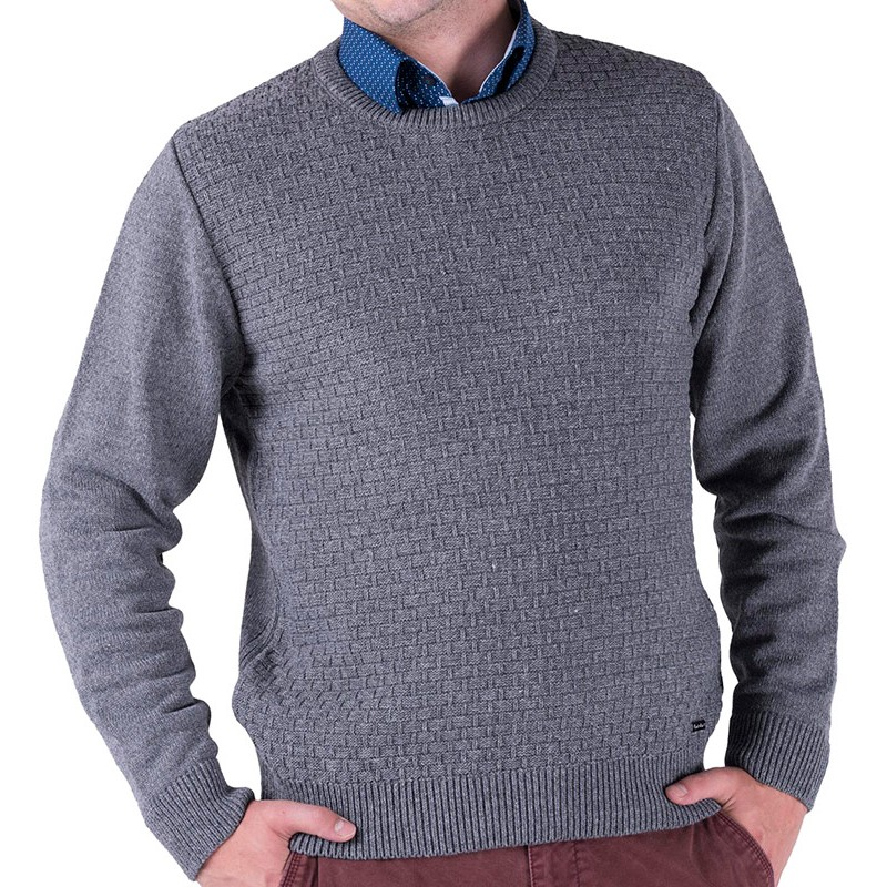 Szary sweter Lasota Filip pod szyje