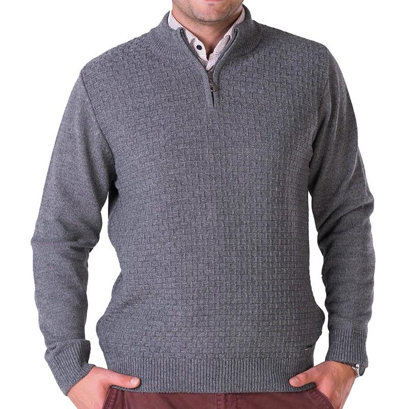 Szary sweter Lasota Filip polo z kr. zamkiem