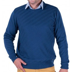 Niebieski sweter u-neck Lasota Markus pod szyje atlantic M L XL 2XL