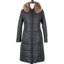 płaszcz damski z lisem Biba Karen czarny rozmiar 40 44 48
