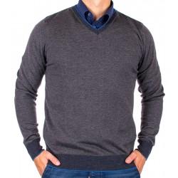 Szary sweter Jordi J-830 w szpic z lamówką