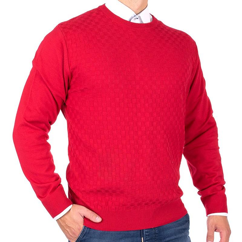 Czerwony sweter Lanieri 10-102-24 u-neck kolor 195