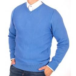 Błękitny niebieski sweter Lasota Ksawery w szpic rozmiary M L XL 2XL