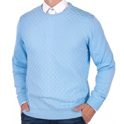 Błękitny sweter u-neck Lanieri 10-102-24 365