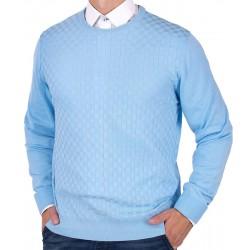 Błękitny sweter u-neck Lanieri 10-102-24 kolor 365 roz. M L XL 2XL 3XL
