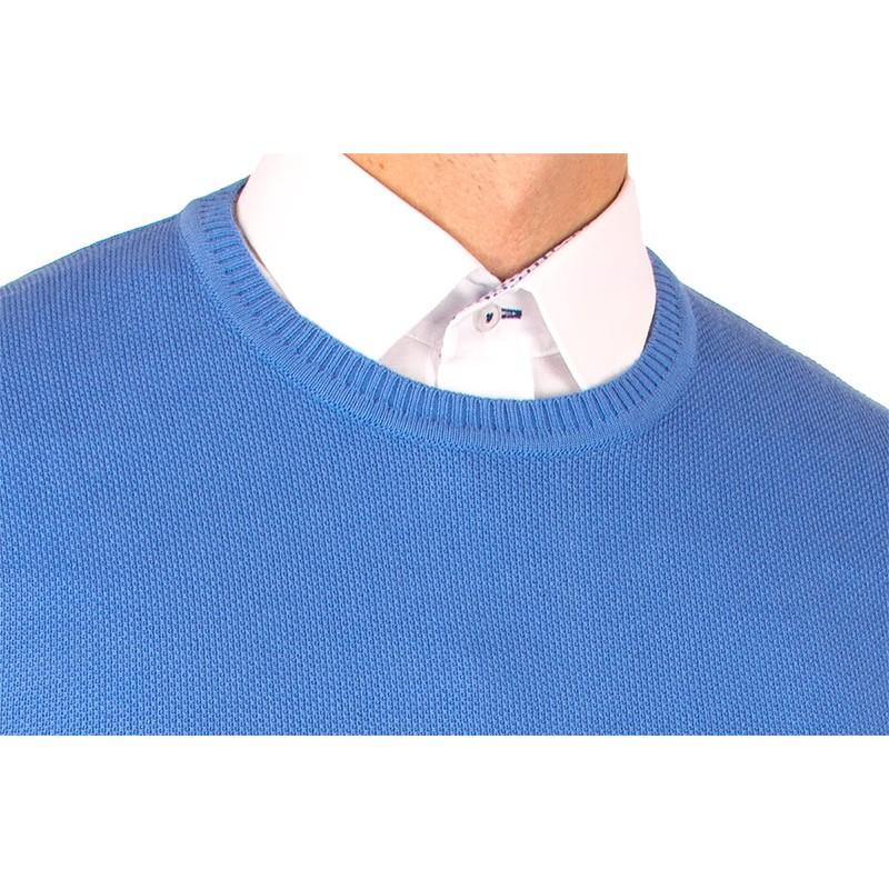 Błękitny sweter Lanieri u-neck 10-102-25 kol 040