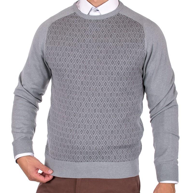 popielaty sweter Lanieri u-neck 10-102-12 kol 01