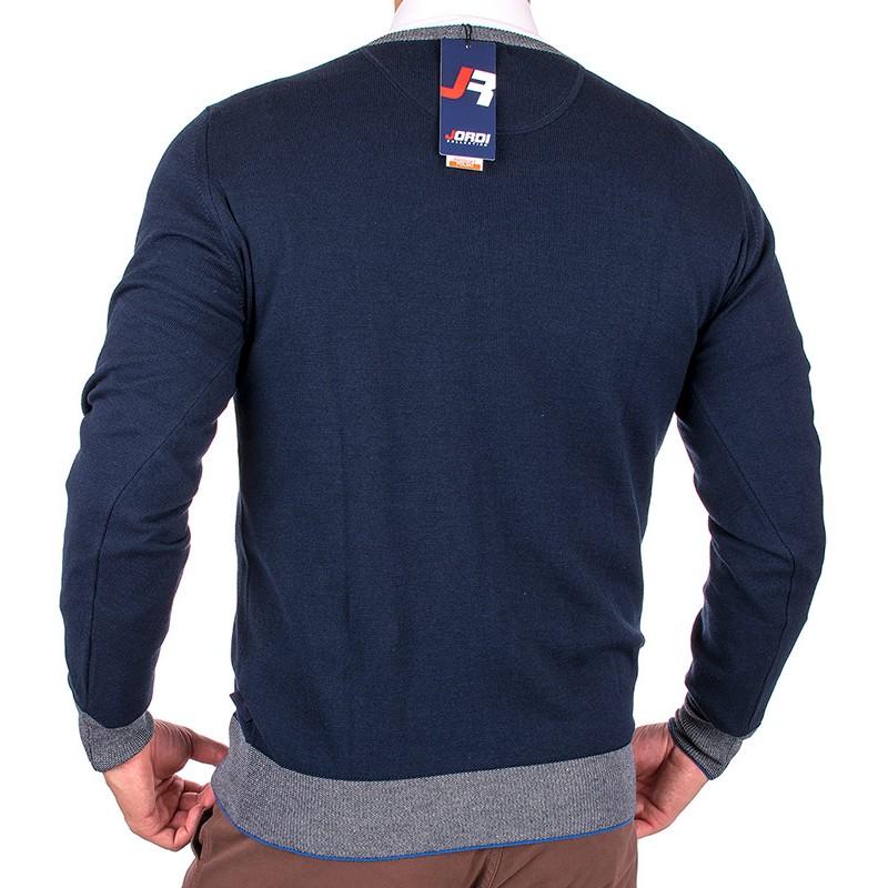 Sweter Jordi J-830 v-neck granatowy z lamówką