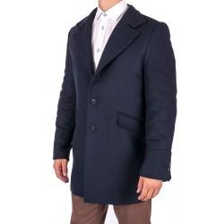 Granatowy płaszcz męski Janimen Tadeusz z kołnierzem 50 52 54 56 58 60