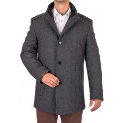 Szary płaszcz wełniany zimowy Lansier Cezar 50 52 54 56 58 60 62