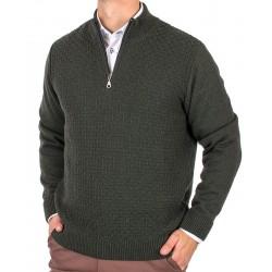 Sweter Lasota Filip polo krótki zamek butelkowa zieleń M L XL 2XL 3XL