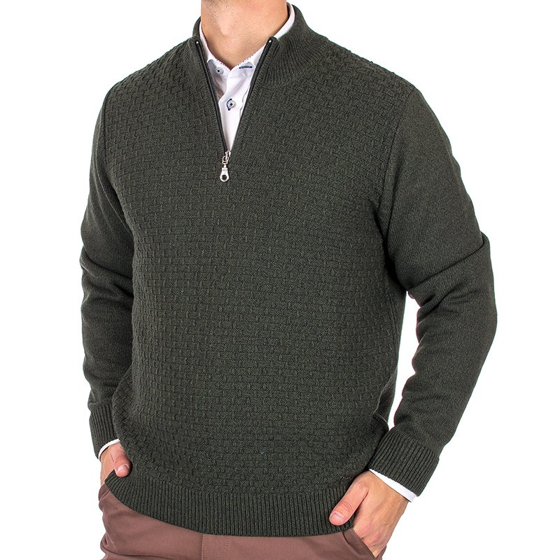 Sweter Lasota Filip polo butelkowy zielony