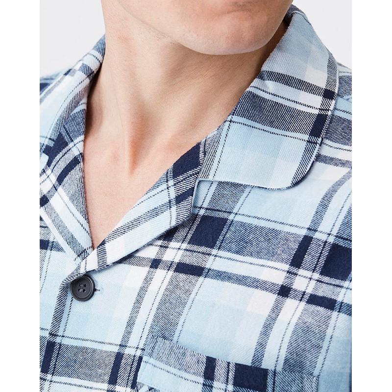 Piżama Key MNS 461 rozpinana flanela w niebieską kratkę