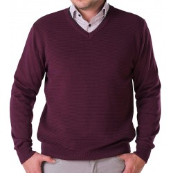 Sweter v-neck Lasota Hermes śliwka chianti