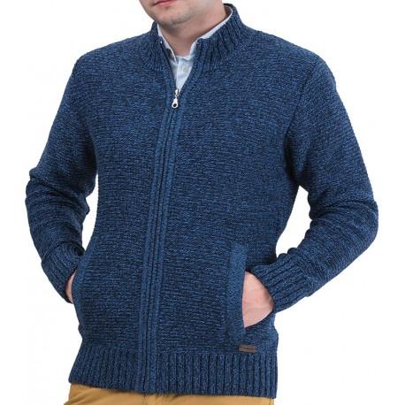 Sweter rozpinany Lasota Ernest melange jeans-granat