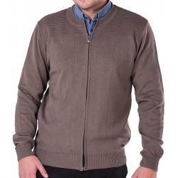 Ciemnobeżowy sweter Lasota Gaspar rozpinany niska stójka M L XL 2XL