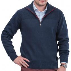 Granatowy sweter golf Lasota Harry polo z krótkim zamkiem M L XL 2XL