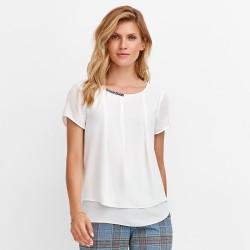 biała bluzka krótki rękaw Feria FD72-3-08 rozmiar 38 40 42 44 46 48