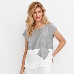 bluzka popielato biała Feria FD76-2-10 rozmiar 38 40 42 44 46 48