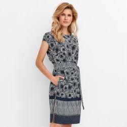 sukienka z wzorkiem Feria FD208-2-30 granat rozmiar 38 40 42 44 46 48