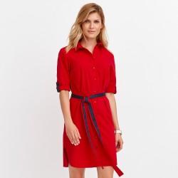 czerwona sukienka Feria FD219-4-07 na guziczki rozmiar 40 42 44 46