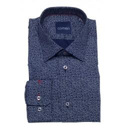Granatowa koszula Comen regular wzór paisley dł. rękaw 39 40 41 42 43