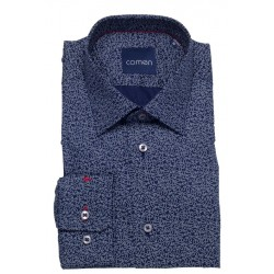 Granatowa koszula Comen regular wzór pasiley dł. rękaw 39 40 41 42 43