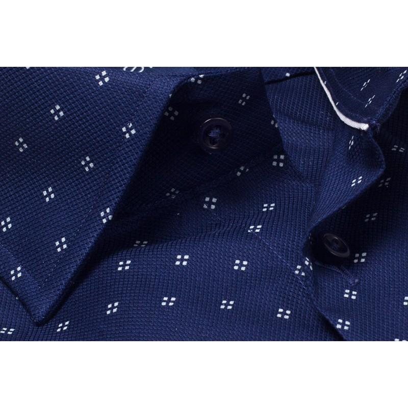 Granatowa koszula 100% bawełna Comen slim ze wzorem