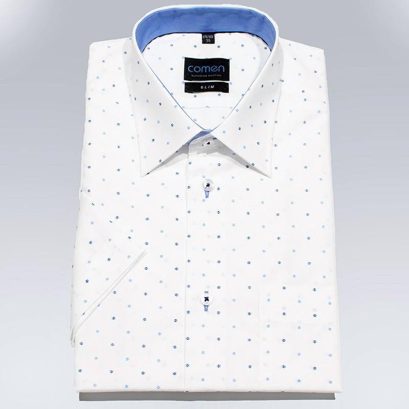 biała koszula Comen z krókim rękawem slim ze wzorem