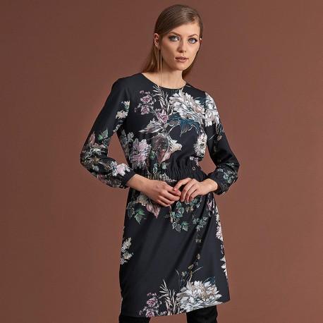 350871fdf2 sukienka w kwiaty Feria FC235-5-02 grafit rozmiar 38 40 42