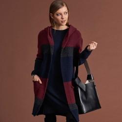 sweter z kapturem Feria FC514-5-06 bordowy rozmiar S/M L/XL