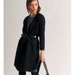 długi sweter Feria FC517-5-02 gładki czarny rozmiar S/M