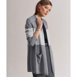 długi sweter Feria FC516-5-10 pasy melanż popielaty rozmiar L/XL